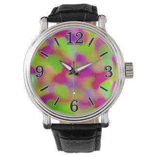 カラフルなピンクの抽象芸術の水彩画パターン 腕時計