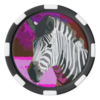 カラフルなピンクの紫色のネオンシマウマ ポーカーチップ