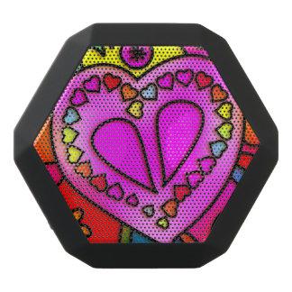 カラフルなピンクの落書きのハートのBoomboxのレックスのスピーカー ブラックBluetoothスピーカー
