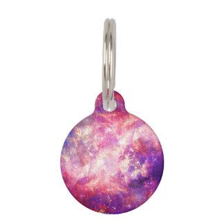 カラフルなピンク及び青い銀河系の星雲 ペット ネームタグ