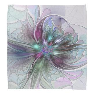 カラフルなファンタジーの抽象芸術のモダンなフラクタルの花 バンダナ
