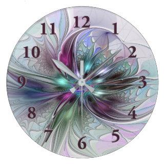 カラフルなファンタジーの抽象芸術のモダンなフラクタルの花 ラージ壁時計