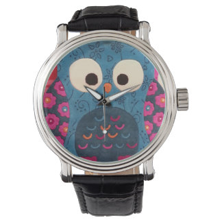 カラフルなフクロウ 腕時計