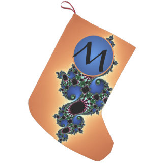 カラフルなフラクタルの酒、青のモノグラムとの渦巻 スモールクリスマスストッキング