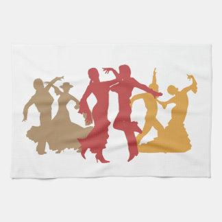 カラフルなフラメンコのダンサー キッチンタオル
