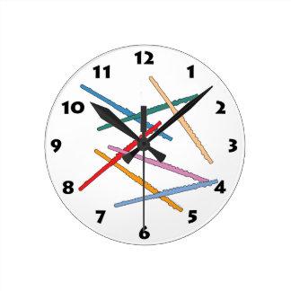 カラフルなフルート ラウンド壁時計