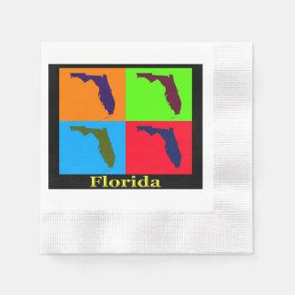 カラフルなフロリダの州のポップアートの地図 縁ありカクテルナプキン