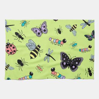 カラフルなベクトル虫及び蝶(緑の背部) キッチンタオル