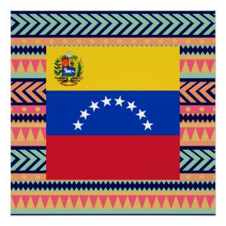 カラフルなベネズエラの旗箱 ポスター