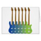 カラフルなベースギター カード
