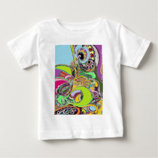 カラフルなペイズリーのぬり絵帳のデザイン ベビーTシャツ