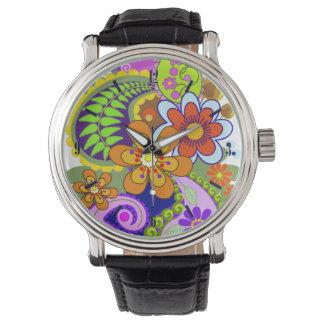 カラフルなペイズリーのパターン及び花の腕時計 腕時計