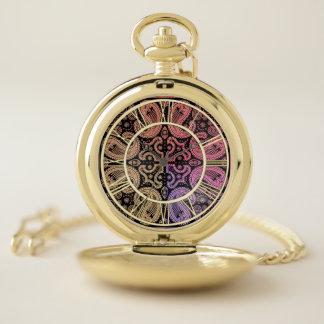 カラフルなペイズリーの曼荼羅の壊中時計 ポケットウォッチ