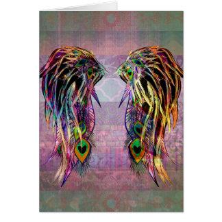 カラフルなボヘミアの孔雀の羽の天使の翼 グリーティングカード
