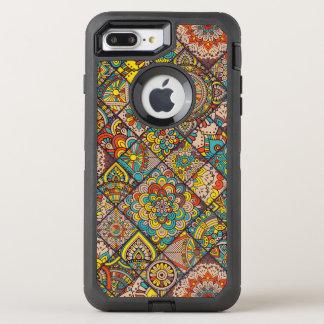 カラフルなボヘミアの曼荼羅のパッチワーク オッターボックスディフェンダーiPhone 8 PLUS/7 PLUSケース