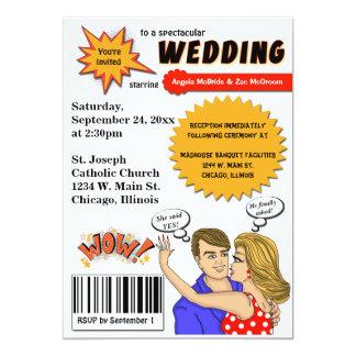 カラフルなポップアートの漫画本カバー結婚式の招待 カード
