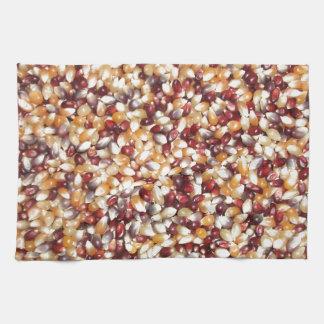 カラフルなポップコーンの穀粒 キッチンタオル