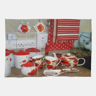カラフルなマグおよび小さなかんの一定の台所タオルの装飾 キッチンタオル