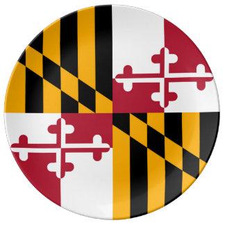 カラフルなメリーランドの州の旗 磁器プレート