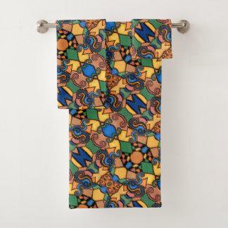 カラフルなモダンの抽象芸術パターン バスタオルセット