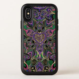 カラフルなモノグラムのケルト族のハートの結び目の曼荼羅 オッターボックスシンメトリー iPhone X ケース