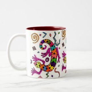 カラフルなヤモリのコップ ツートーンマグカップ