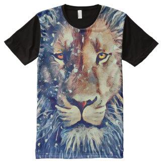 カラフルなライオンのエアブラシの芸術 オールオーバープリントT シャツ
