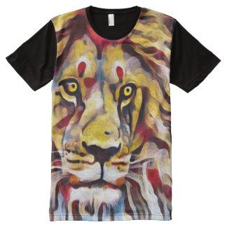 カラフルなライオンの油性ペイントの通りの芸術 オールオーバープリントT シャツ