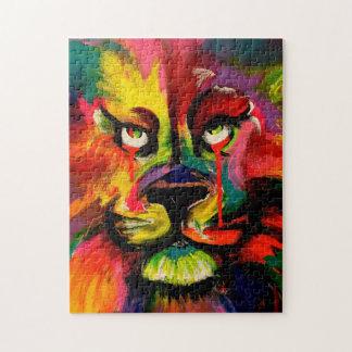 カラフルなライオンの顔は入れ墨インクジグソーパズルで絵を描きました ジグソーパズル