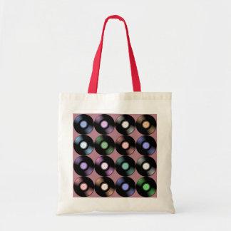 カラフルなレコードパターン トートバッグ