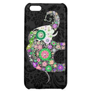 カラフルなレトロによっては象のダイヤモンドのスタッドが開花します iPhone5Cカバー