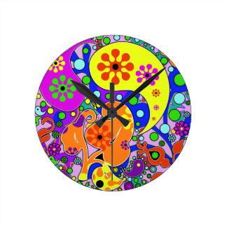 カラフルなレトロのペイズリーによっては明るい柱時計が開花します ラウンド壁時計
