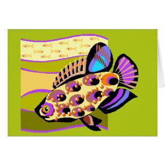 カラフルなレトロの熱帯魚 カード