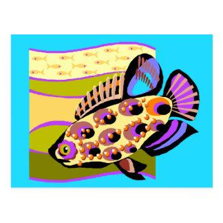 カラフルなレトロの熱帯魚 ポストカード