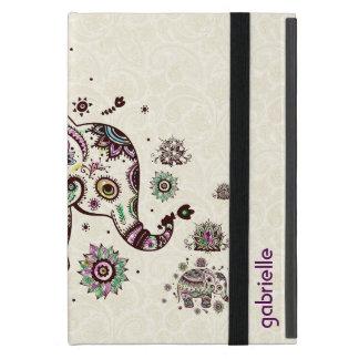 カラフルなレトロの花柄及び象ベージュ色背部 iPad MINI ケース