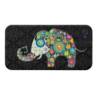 カラフルなレトロの花象のデザイン Case-Mate iPhone 4 ケース