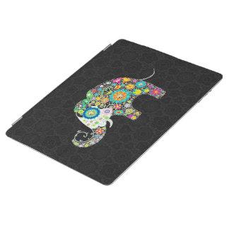 カラフルなレトロの花象のデザイン iPadスマートカバー