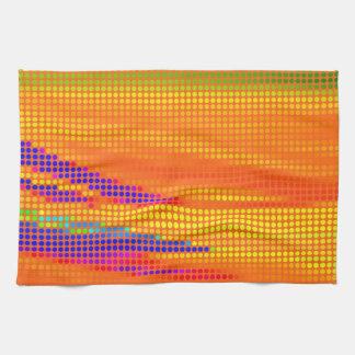カラフルなレトロの虹は芸術に点を打ちます 台所タオル