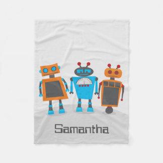 カラフルなロボットトリオ フリースブランケット