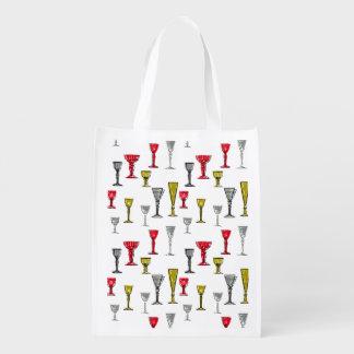 カラフルなワイングラスパターン エコバッグ