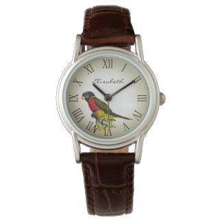 カラフルなヴィンテージのオウムのイラストレーションの名前 腕時計