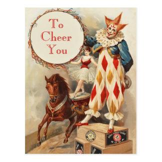カラフルなヴィンテージのサーカスのピエロ ポストカード
