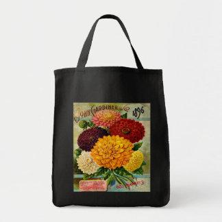 カラフルなヴィンテージのダリアの花 トートバッグ