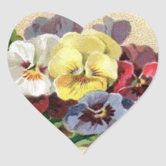 カラフルなヴィンテージのパンジーの花のハートのステッカー ハートシール