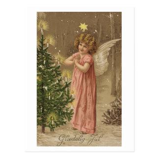 カラフルなヴィンテージのピンクのクリスマスの天使カード ポストカード