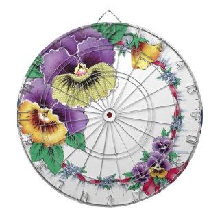 カラフルなヴィンテージの花のパンジーのダート盤 ダーツボード