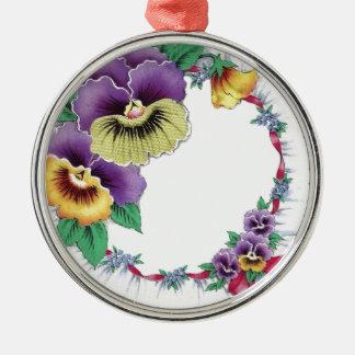 カラフルなヴィンテージの花のパンジーの円形のオーナメント メタルオーナメント