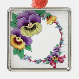 カラフルなヴィンテージの花のパンジーの正方形のオーナメント メタルオーナメント