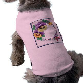 カラフルなヴィンテージの花のパンジーペットワイシャツ ペット服