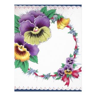 カラフルなヴィンテージの花のパンジーレターヘッド レターヘッド